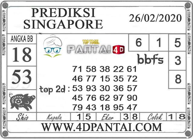 PREDIKSI TOGEL SINGAPORE PANTAI4D 26 FEBRUARI 2020