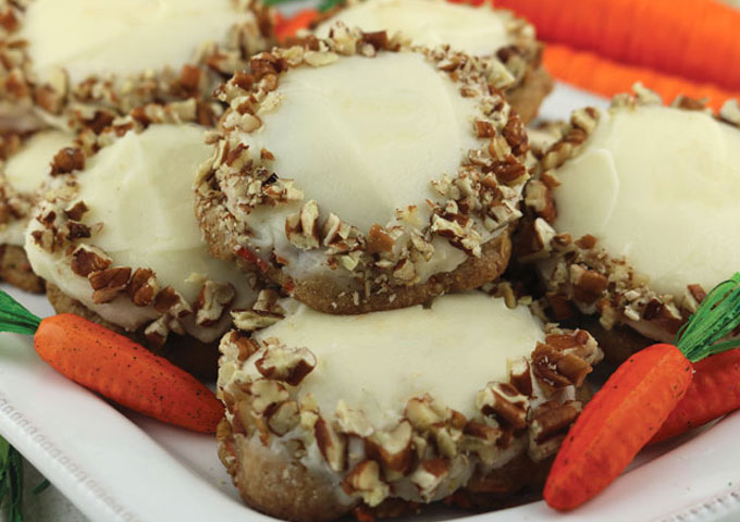 Our Carrot Cake Cookies with Cream Cheese Frosting #desserts #cakerecipe #chocolate