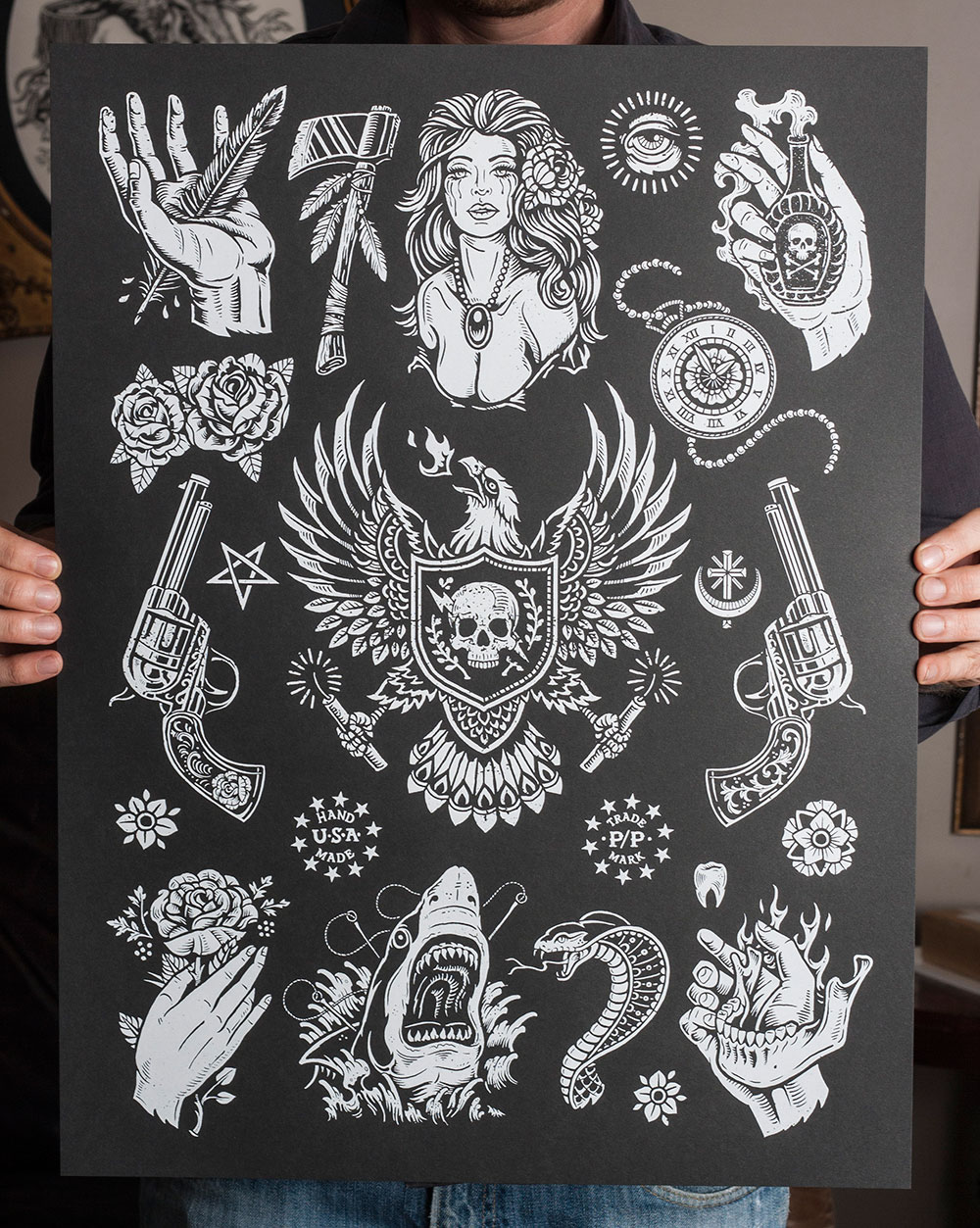 Traditional Black And Grey Tattoo: INSIDE THE ROCK POSTER FRAME BLOG: Derrick Castle American