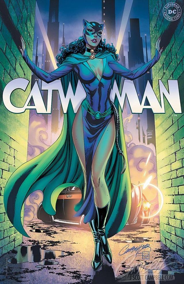 Catwoman con capa según J. Scott Campbell