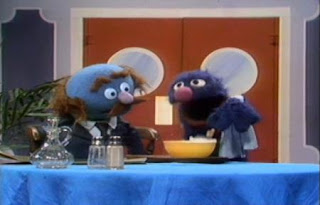 Mr Johnson asks for hot alphabet soup. Waiter Grover tries to add the missing letters in the soup. Sesame Street Best of Friends