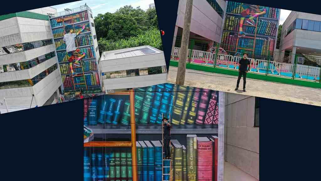 O conhecido artista urbano Kobra finaliza hoje, sexta-feira, 22 de janeiro, um mural de 22 metros de altura por 11 de largura, em uma escola na cidade de Sorocaba, interior de São Paulo. O mural mostra um menino subindo uma estante em uma biblioteca à procura de um livro.