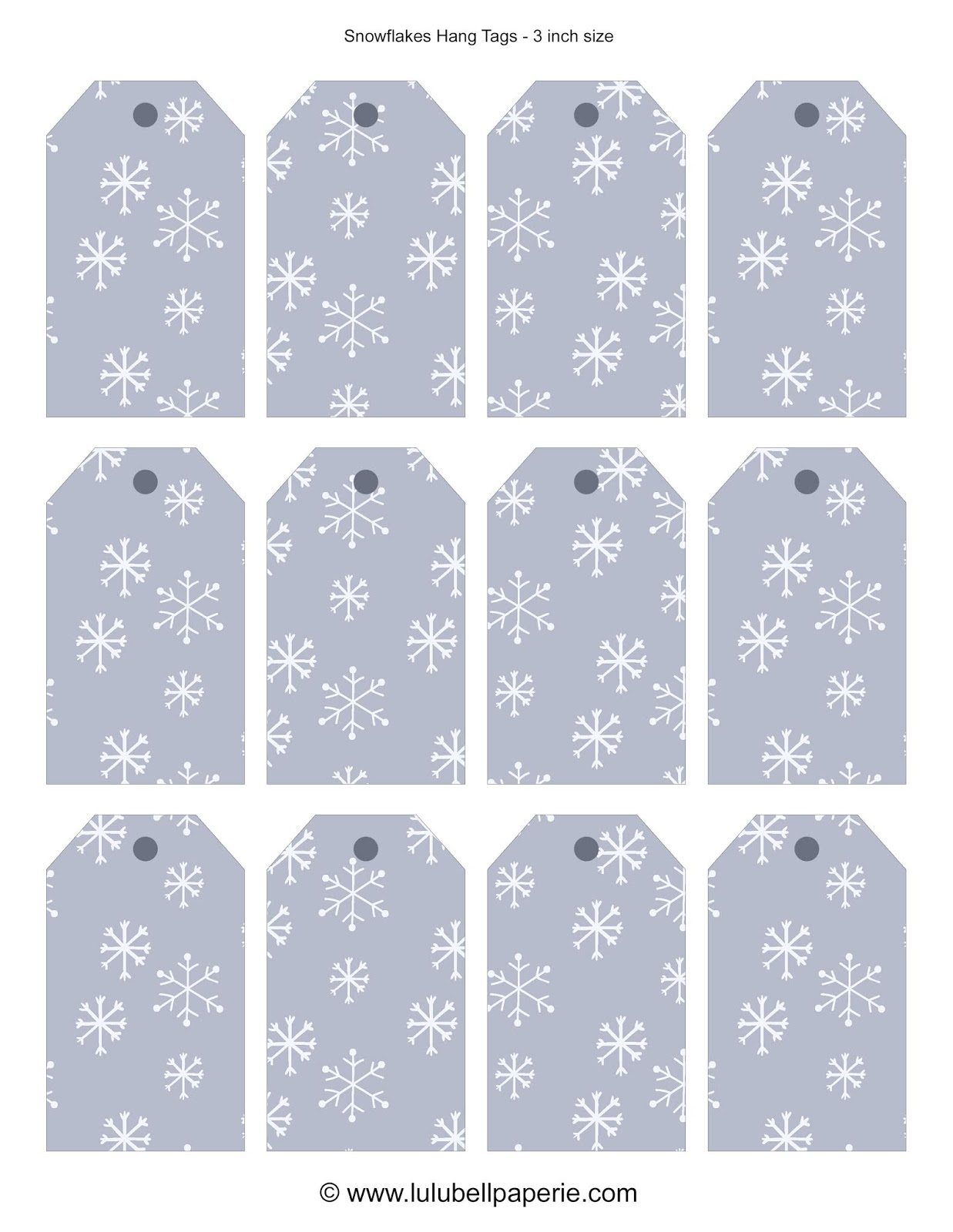 Free Christmas Holiday Gift Tag Sheet Printable - Dusty Blue and White Snowflakes