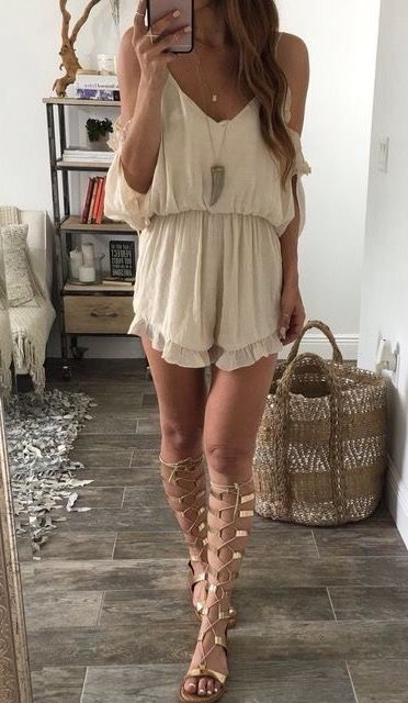 boho style obsession / nude palysuit + lace up sundals