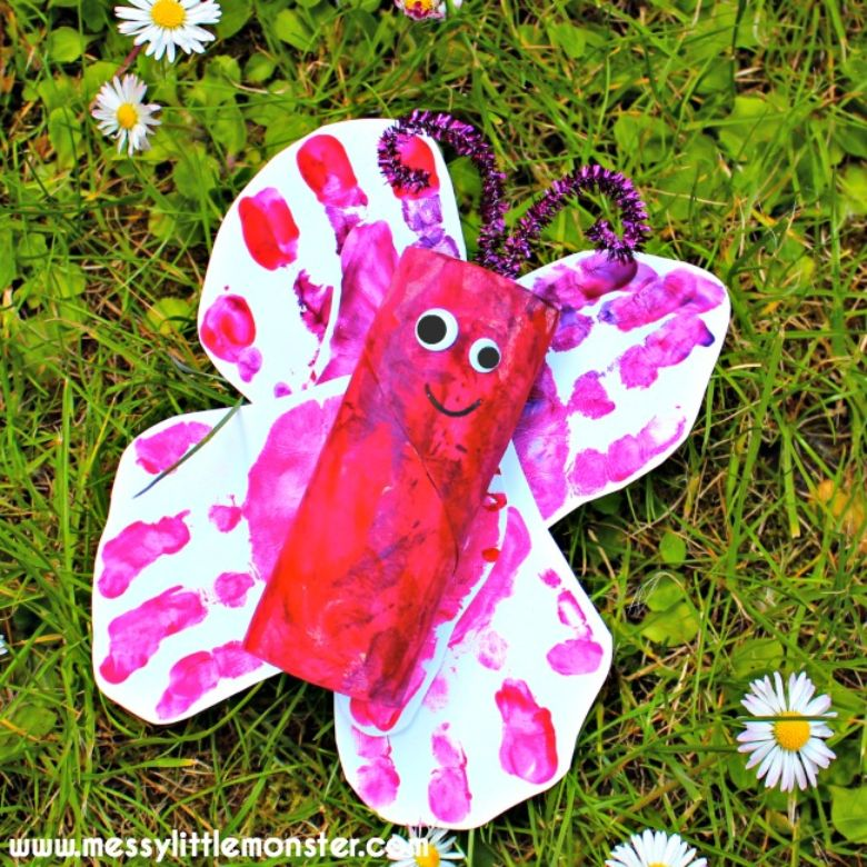 toilet roll handprint butterfly craft
