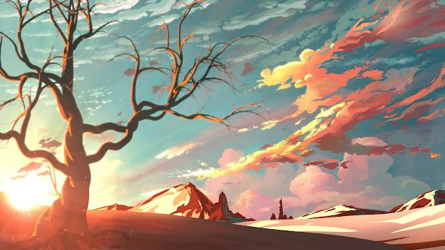 Montanhas, Árvore, Arte, Entardecer, Deserto