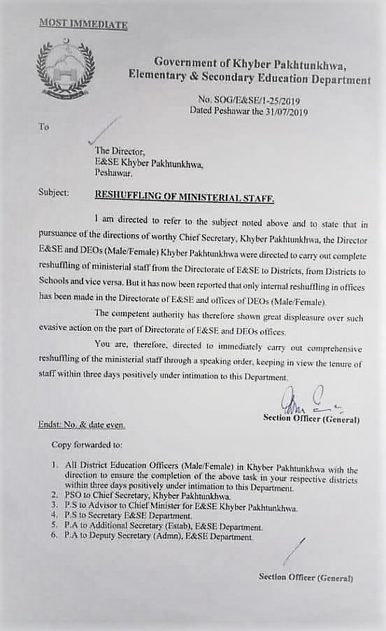 RESHUFFLING OF MINISTERIAL STAFF FROM DIRECTORATE OF ELEMENTARY & SECONDARY EDUCATION DEPARTMENT (E&SE)