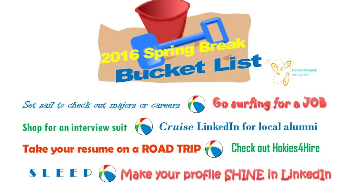 Career Chasse: Spring Break 2016 Bucket List: What Should You Add to ...