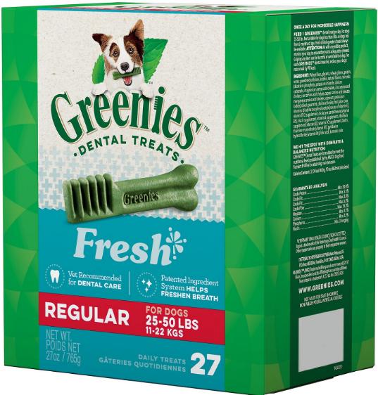 15% Off Greenies Fresh Regular Dental Dog Treats