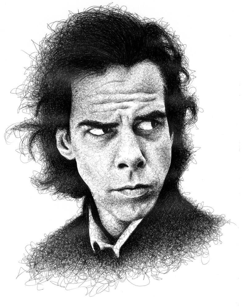 09-Nick-Cave-Paul-Kobriger-Ballpoint-Pen-Portrait-Drawings-Stippling-and-Scribble-www-designstack-co
