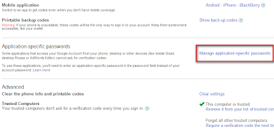 Application Specific Password Option in google 2 step verification page