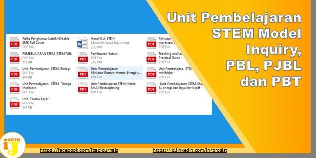 Unit Pembelajaran STEM Model Inquiry, PBL, PJBL dan PBT