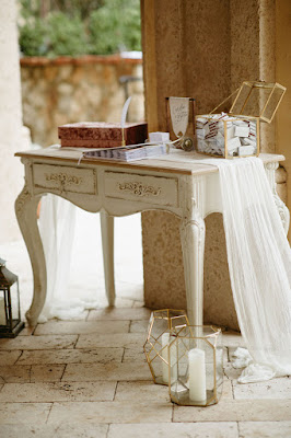 antique guestbook and gift table