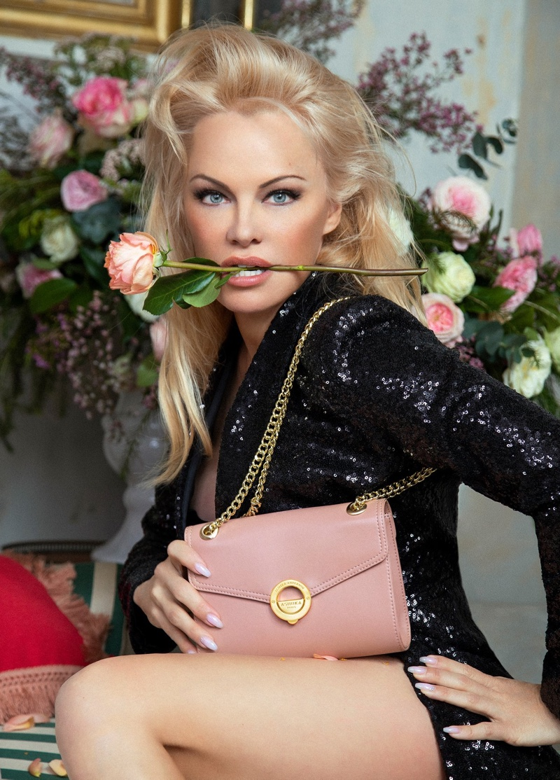 Pamela Anderson fronts Ashoka handbag collaboration campaign.