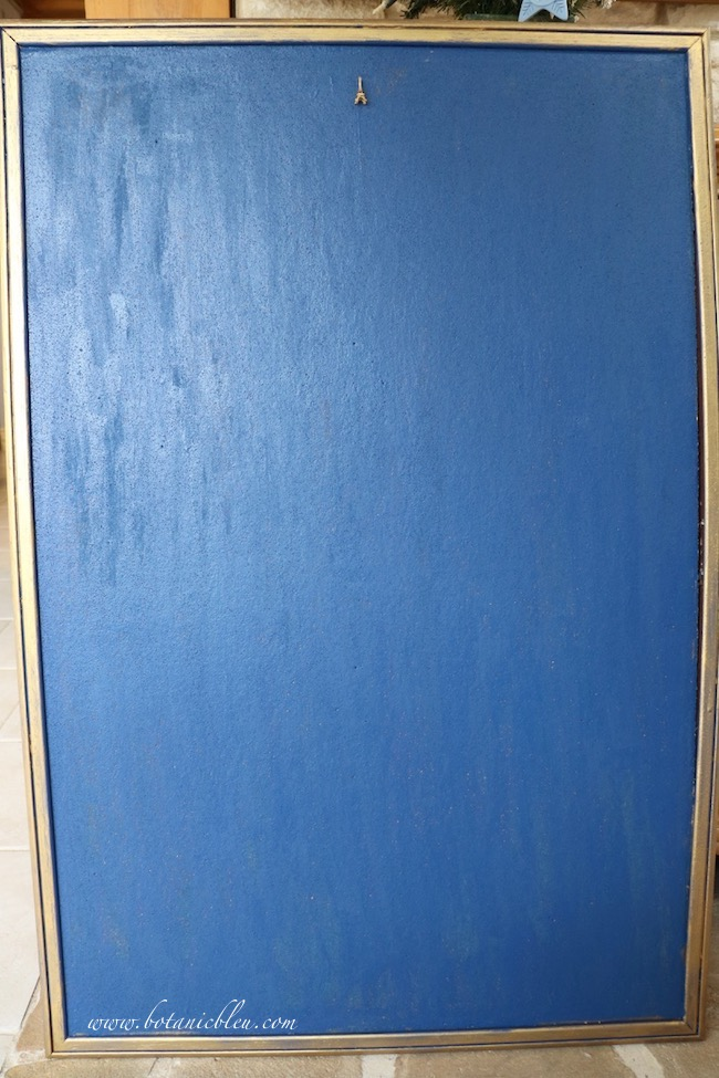 Inked Blue Bulletin Board Debut shows the board after painting using a sample paint, Behr Inked