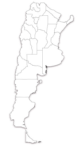 Argentina Map Outline with Cities