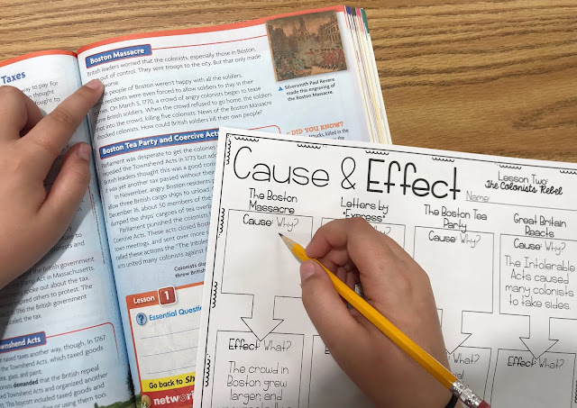 "Social Studies book and Graphic Organizer with text ""Cause &  Effect"""