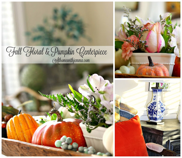 doughbowl, Thanksgivng, centerpiece, floral, pumpkin, decorating, Holiday, Homemaking, athomewithjemma