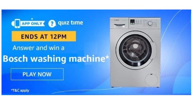 Amazon Quiz Answers Today 14 December win - Bosch Washing Machine