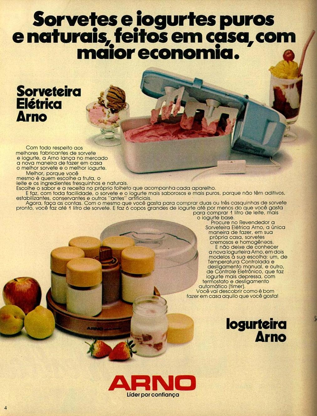 Propaganda antiga da Arno apresentando a iogurteira e sorveteira elétrica em 1984