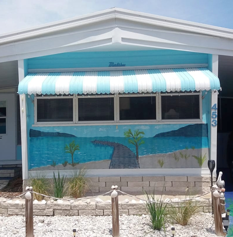 Beach Art Painted on Trailer Mobile Home