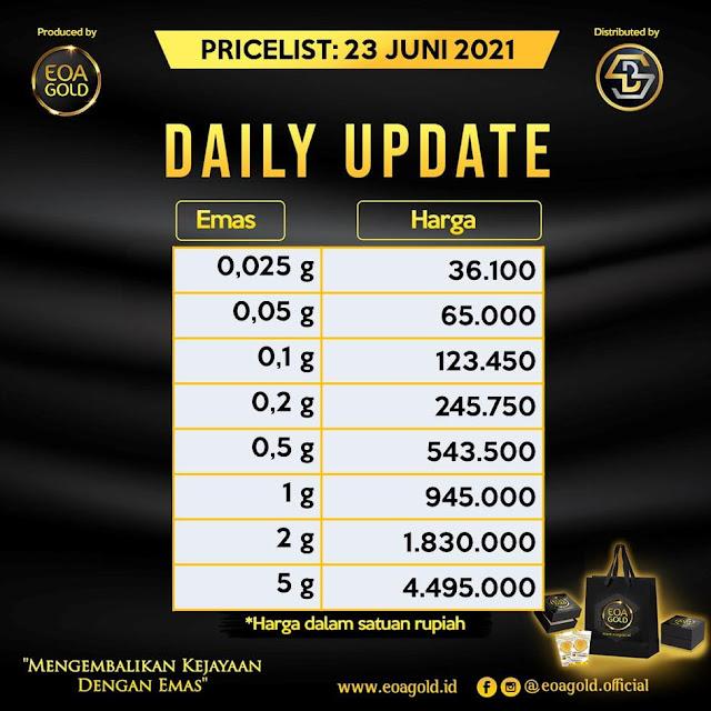 Pricelist EOA Gold hari ini 23 Juni 2021