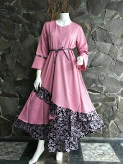 Gamis Batik Solo Dilan Pink