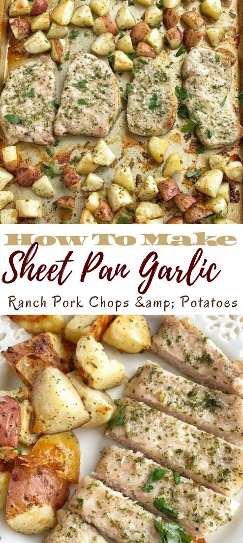 Sheet Pan Garlic Ranch Pork Chops & Potatoes #food #lunchrecipe #vegan #vegetarianrecipe #easyrecipe