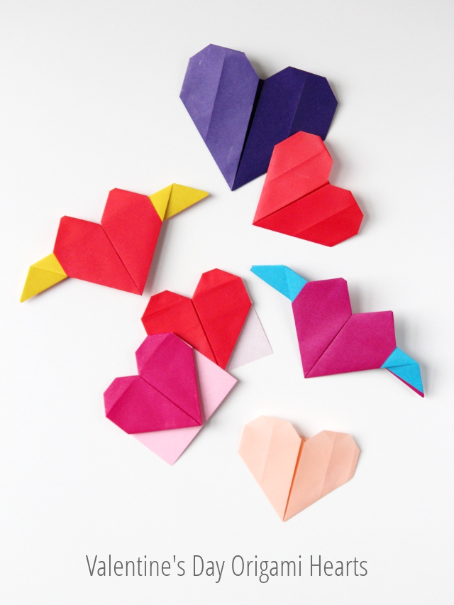 Valentine's Day Origami Hearts - Three Ways