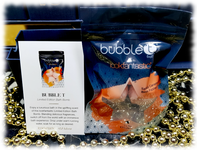 lookfantastic Bubble T Limited Edition Bath Fizzies package & card