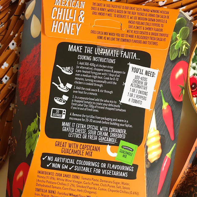 The back of the fajita kit which has the instructions listed