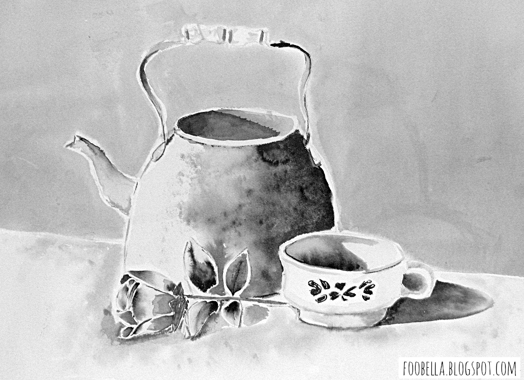 copper pot cup and rose ink wash via foobella.blogspot.com
