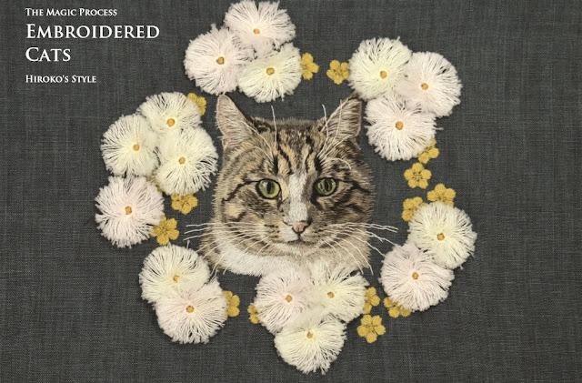 вышитые кошки, книга с вышитыми кошками, кошки вышивка
