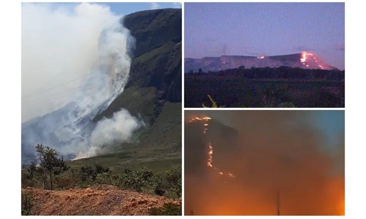 Incêndio e fumaça se espalham pela Serra do Sincorá, na Chapada Diamantina