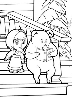 דפי צביעה דמויות מאשה והדוב