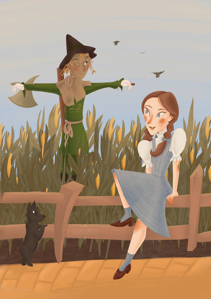 the wizard of oz scarecrow field with dorothy gale digital illustration