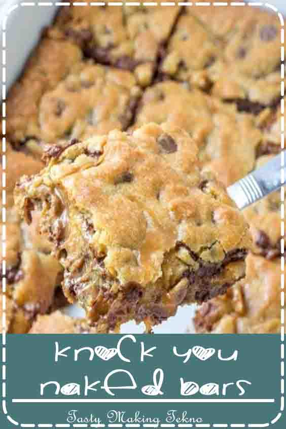 Delicious Caramel Cookie Bars with an amazing layer of gooey caramel stuffed in better the layers with a hint of peanut butter. These cookie bars are EPIC and you'll never make them anyway again! There's a reason they are called Knock You Naked Bars!