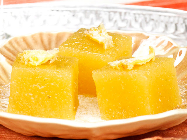 Roast pineapple turkish delight in a serving dish