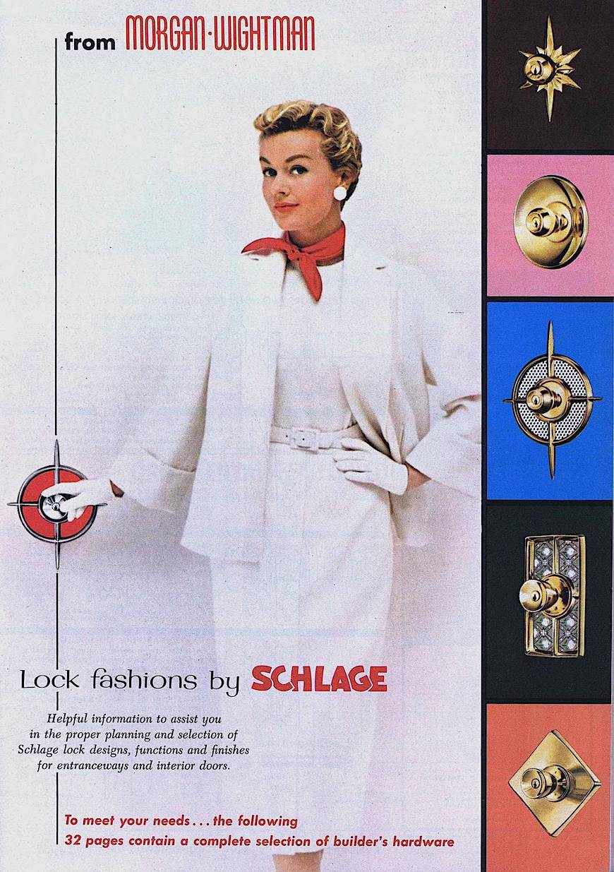 a 1959 Schlage doorlocks ad with color photograph
