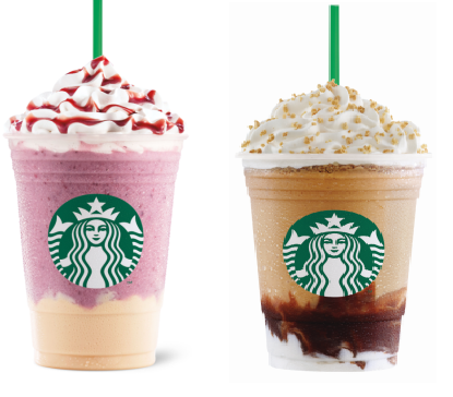 Roasted Marshmallow S'mores Frappuccino and Summer Berry Panna Cotta Frappuccino