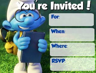 Free printable Smurfs invitations