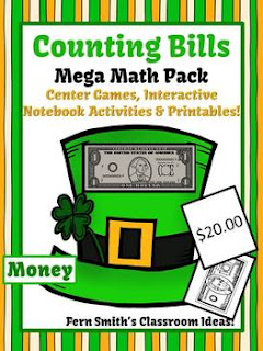 St. Patrick's Day Math Center Games & Printables Money Counting Bills