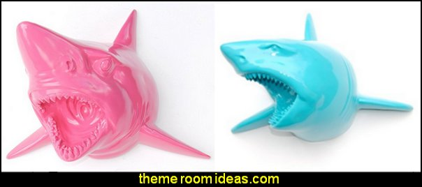 Faux Taxidermy Shark Wall Mount surfing bedroom, beach surf themed bedroom ideas, surfer girl themed bedroom ideas. surf decor for bedroom, surfer girl pink surfing  decor beach themed bedrooms. Surfing themed bedroom for girls. Beach themed bedroom for girls, surfer girl bedding