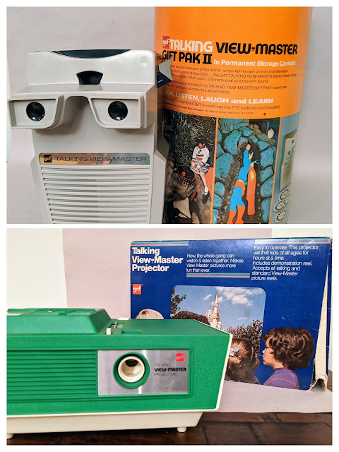 A collage of Talking View-Masters and projectors