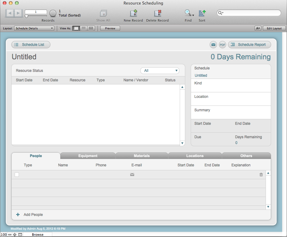 The Mac Office: Resource Scheduling: FileMaker Pro 12 Starter Solution