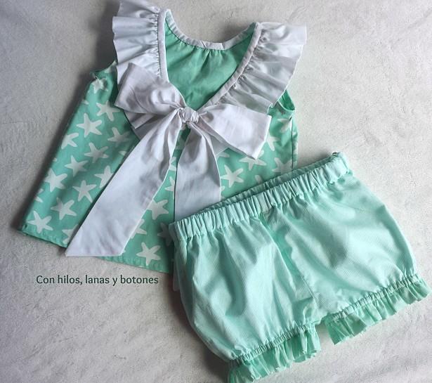 Con hilos, lanas y botones: Conjunto de bombacho y blusa con lazo en la espalda para niña