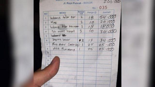 Viral Harga Mie Pakai Telur di Puncak Bogor Rp 54 Ribu, Foto Notanya Beredar di Medsos