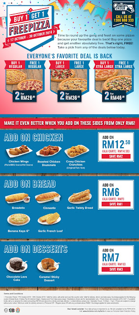 Domino's Pizza Malaysia Buy 1 Free 1 Promotion