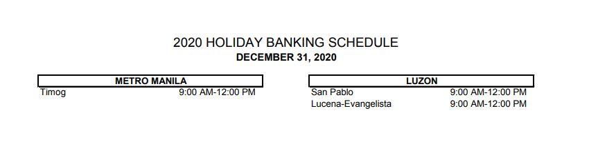 RCBC bank schedule December 31, 2020