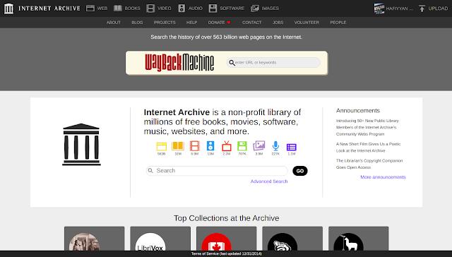 Halaman Utama archive.org